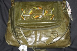 Olive Green Sak Hand Painted Accents Glazed Leather Cross Body Bag - $124.00