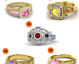 925 Sterling Silver Multicolor Disney Princess Ring 5 Pcs Combo Jewelry Set - $5.818,30 MXN