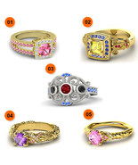 925 Sterling Silver Multicolor Disney Princess Ring 5 Pcs Combo Jewelry ... - $320.99