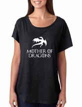 Women's Dolman Shirt Mother Of Dragons White Print - $14.94