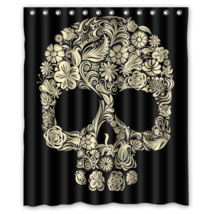 Flower Skull #01 hower Curtain Waterproof Made From Polyester - $29.07+