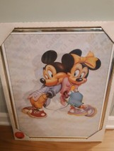 Vintage Disney Poster Framed Picture Mickey and Minnie Mouse Hip Hop Spunky - $29.65