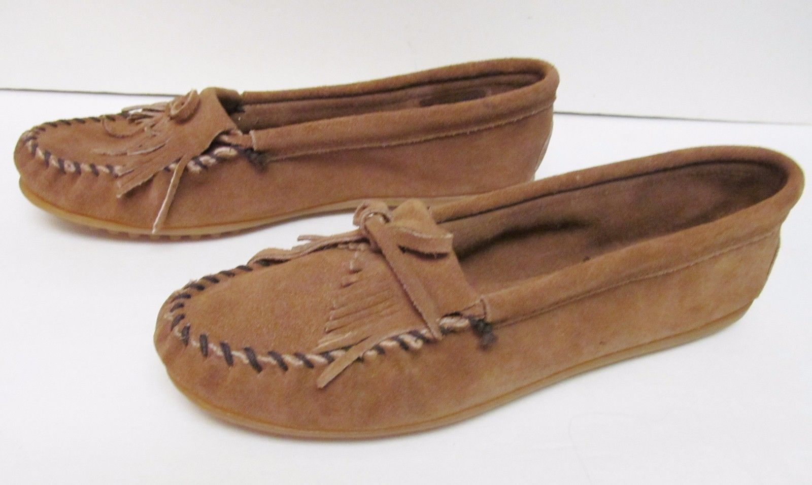 8bece719dc6976 MINNETONKA Women s Moccasins Leather Slip On Loafers Shoes 407 T Brown Tan  11 -  29.95
