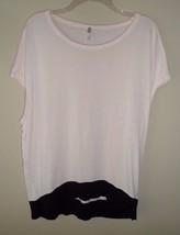 Gap Peach Black Women's knit Shirt Large Colorblock Color Block Knit Rayon - $18.57