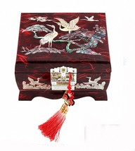 Jewelry Box Wood Jewel Case Organizer Necklace Music Chest Box  Crane 5C... - €71,71 EUR
