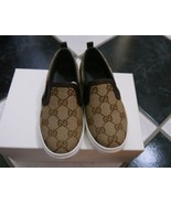 NIB 100% AUTH Gucci Kids gg print slip-on sneaker 247804 Sz 32/US 1 - $195.00