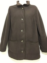 LL Bean Womens M Reg Brown Polartec Fleece Barn Coat Jacket - $73.01