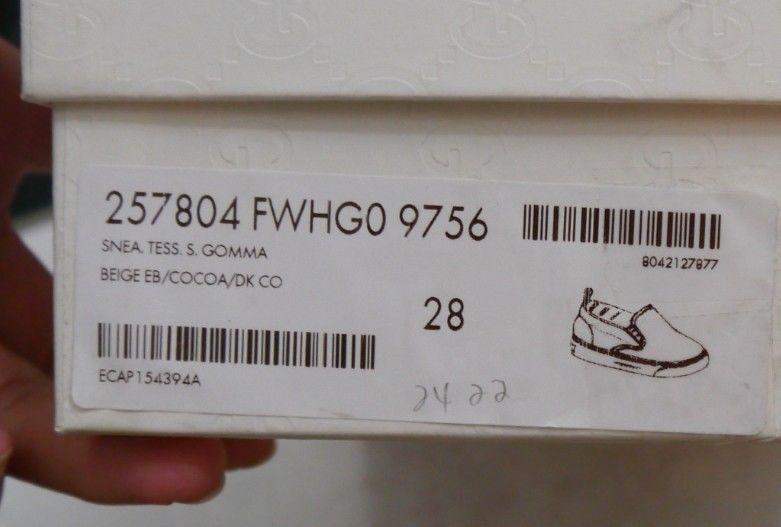NIB 100% AUTH Gucci Kids gg print slip-on sneaker 247804 Sz 32/US 1