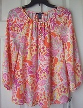 New Chaps Women Floral Georgette Top Blouse Coral Multi Size S - $25.57