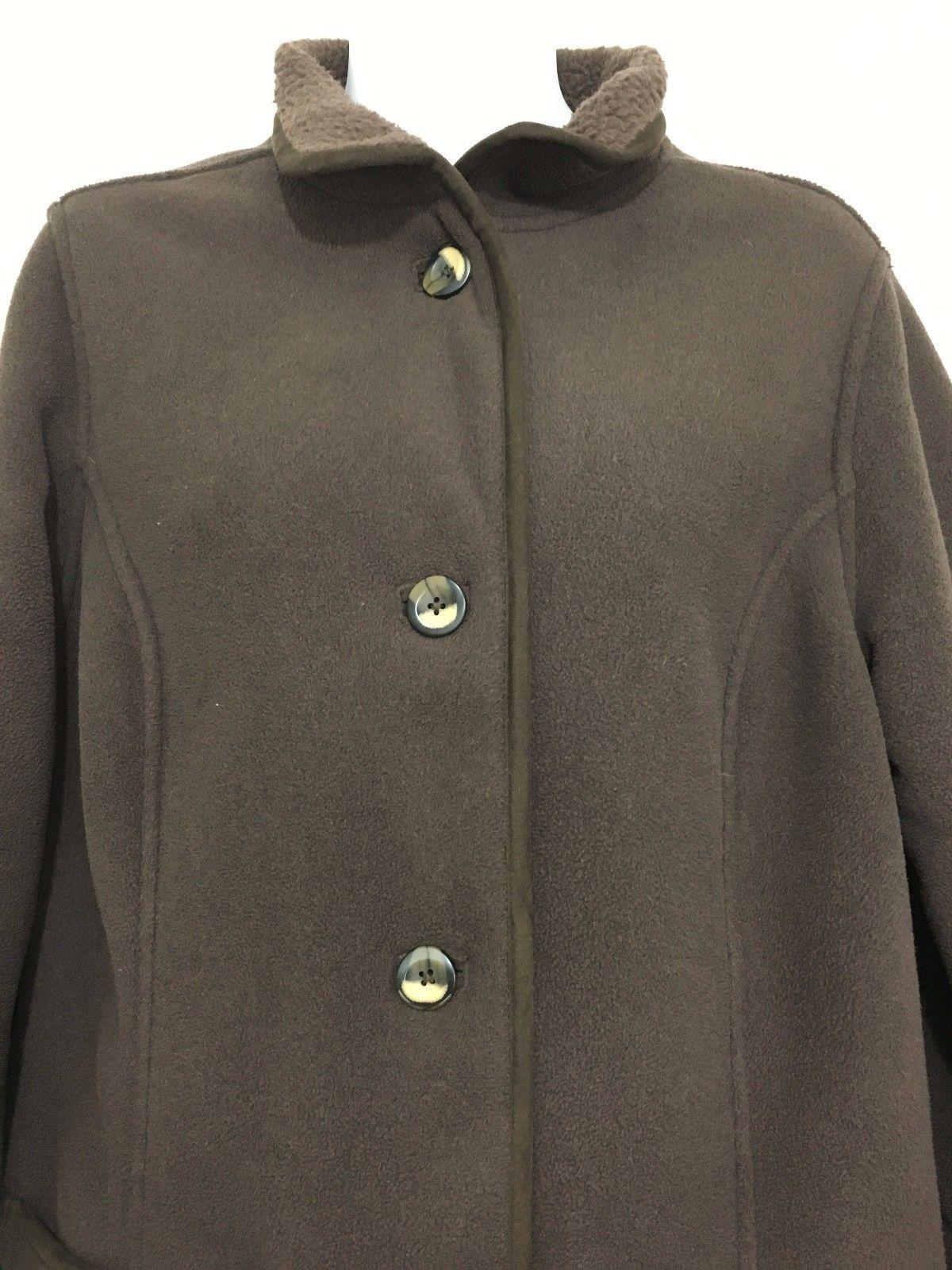 LL Bean Womens M Reg Brown Polartec Fleece Barn Coat Jacket