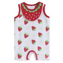 Cute Sleeveless Infant Bodysuit Toddlers Onesies Baby Romper With Bib Strawberry