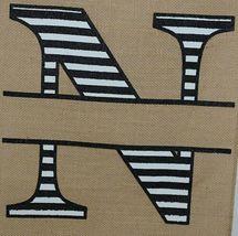 Kate Winston Brand Brown Burlap Monogram Black White N Garden Flag image 3