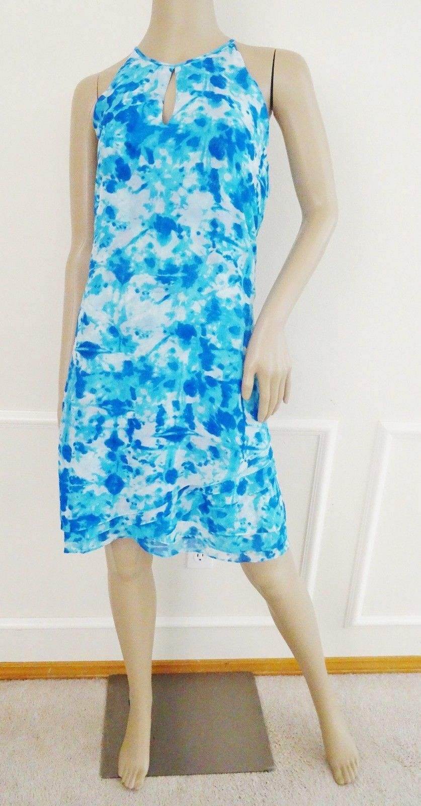 Primary image for Nwt Calvin Klein Keyhole Halter Chiffon Flare Tiered Dress Sz 12 Blue Print $134