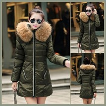 Racoon Faux Fur Trimmed Hood Long Sleeve Duck Down Army Green Parka Coat Jacket
