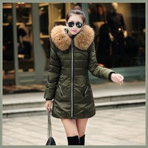 Racoon Faux Fur Trimmed Hood Long Sleeve Duck Down Army Green Parka Coat Jacket image 2