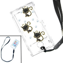 Bling 3 Black Cats Cat Crystal Hard case for ipod Nano 7th Gen 7G + Strap - $7.83