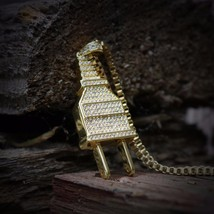 Iced Out 14k Gold Plated Lab Diamond Hip Hop Electric Plug Pendant Necklace - $29.51
