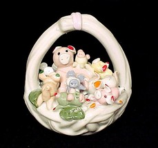 57006a pink pigs in white porcelain basket figurine 1993 artmark piggy hand painted thumb200