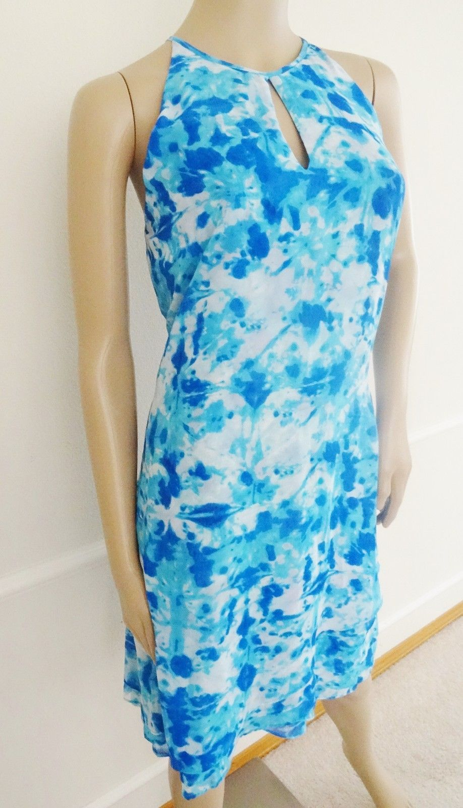 Nwt Calvin Klein Keyhole Halter Chiffon Flare Tiered Dress Sz 12 Blue Print $134