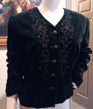 Laura Ashley Black Velvet Floral Embroidered Beaded Goth Jacket US 10 UK 14 - $94.99