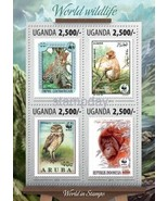 UGANDA 2014 2013 STAMP ON STAMP WWF BIRDS FROG ... - $8.91
