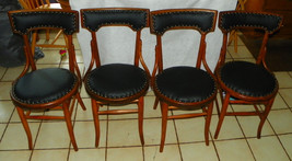 Set of 4 Oak Dinette Chairs / Sidechairs with black leather seats - $899.00