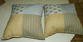 Pair of Blue Gold Patchwork Print Decorative Throw Pillows  18 x 18 - $49.95
