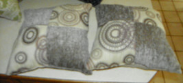 Pair of Gray Beige Retro Circle Print Decorative Throw Pillows  18 x 18 - $49.95
