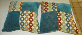 Pair of Teal Beige Abstract Circle Print Decorative Throw Pillows  18 x 18 - $49.95