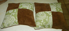 Pair of Green Brown Paisley Print Decorative Throw Pillows  18 x 18 - $49.95