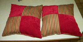 Pair of Red Beige Stripe Patchwork Print Decorative Throw Pillows  18 x 18 - $49.95