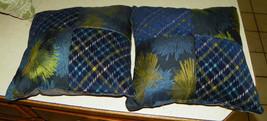 Pair of Blue Green Patchwork Print Decorative Throw Pillows  18 x 18 - $49.95