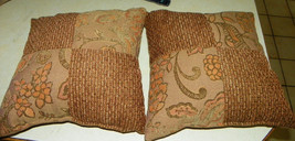Pair of Brown Gold Flower Patchwork Print Decorative Throw Pillows  18 x 18 - $49.95