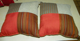 Pair of Gray Beige Salmon Patchwork Print Decorative Throw Pillows  18 x 18 - $49.95