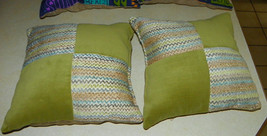 Pair of Green Beige Abstract Print Decorative Throw Pillows  18 x 18 - $49.95