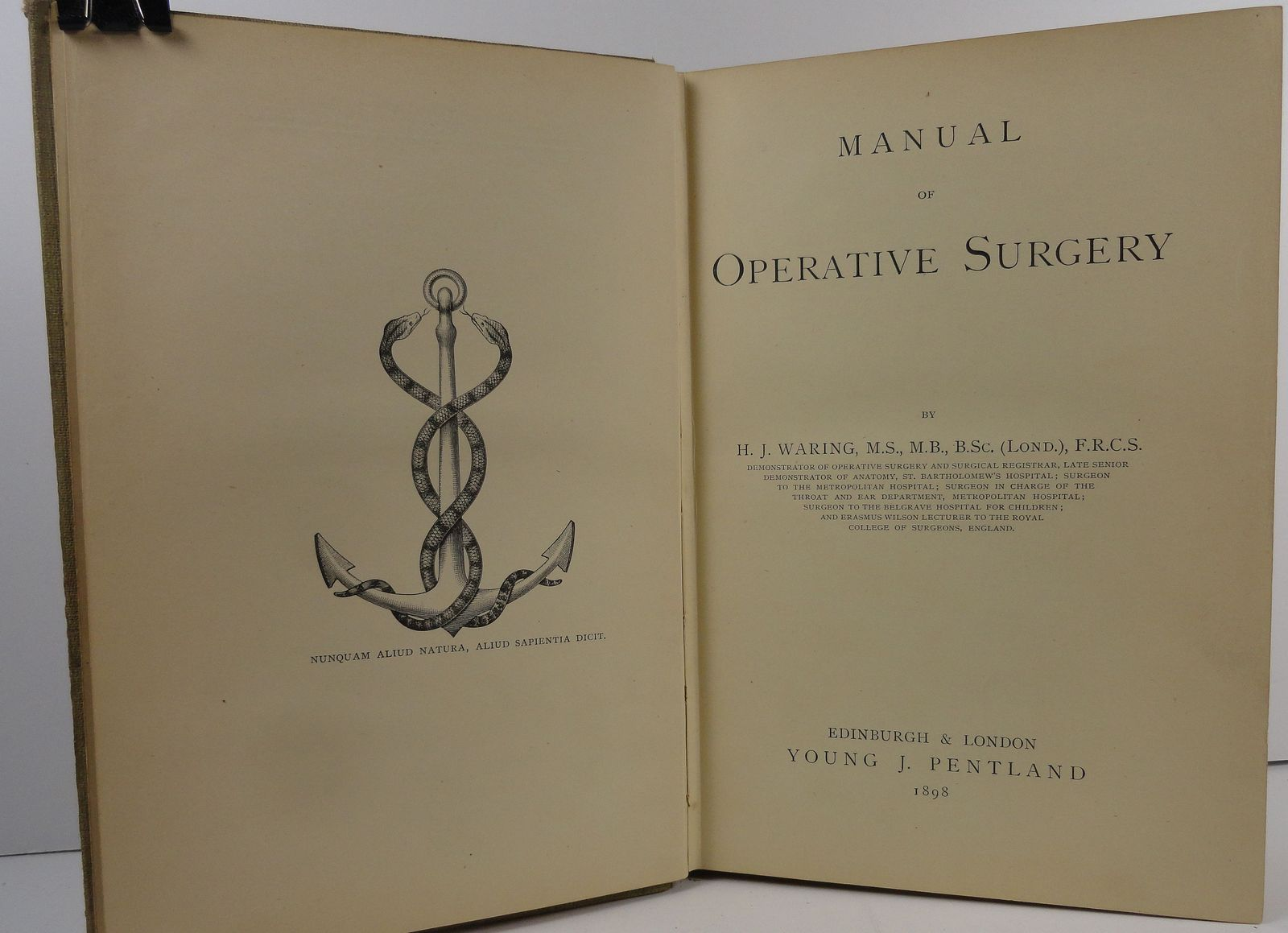 Manual of Operative Surgery H. J. Waring Pentland's Manuals