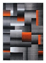 Masada Rugs, Modern Contemporary Area Rug, Orange Grey Black 8 Feet X 10... - $245.09