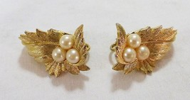 Vintage sarah coventry earrings leaf and faux pearls clip back gold tone - $19.79