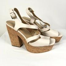 Michael Kors Sandals Block Heel Platform Cork Square Toe Leather Beige S... - $48.37