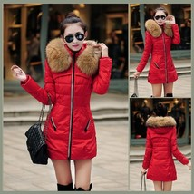 Racoon Faux Fur Trimmed Hood Long Sleeve Duck Down Red Parka Coat Jacket