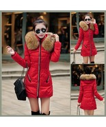 Racoon Faux Fur Trimmed Hood Long Sleeve Duck Down Red Parka Coat Jacket - $103.95