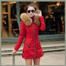 Racoon Faux Fur Trimmed Hood Long Sleeve Duck Down Red Parka Coat Jacket image 2