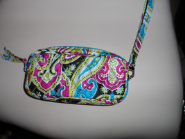 Vera Bradley wristlet in teal, pink and black silk pattern - $13.00