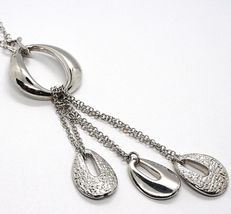 Silver necklace 925 Chain Rolo, three Drops Pendants, processed and Smooth image 3