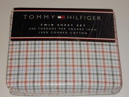 Tommy Hilfiger Red White Blue Plaid Twin Sheet Set  **NEW** - $54.44