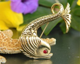 Vintage Koi Fish Goldfish Sea Serpent Brooch Pin Figural Gold Tone - $17.95