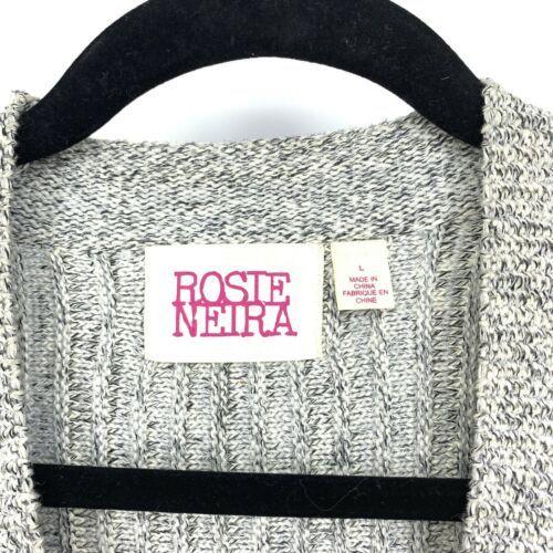 Anthropologie Rosie Neira Womens Sz L Marled Gray Cardigan Sweater Single Button image 3
