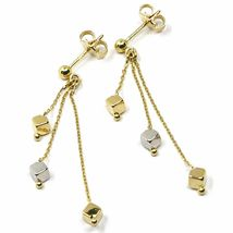 18K YELLOW WHITE GOLD PENDANT EARRINGS, THREE WIRES, SMALL CUBES, 4 cm  image 3