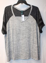 New Womens Plus Size 3 X Black & Gray Marled Baseball Shirt Mesh Striped Sleeves - $14.50