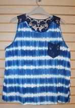 New Womens Plus Size 3 X Navy Blue Tie Dye Tank Top Shirt Crochet Back & Pocket - $17.41